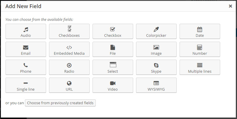 Different kinds of WordPress custom fields available in Toolset