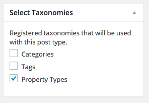 "We have selected the ""Property Type"" category which we created earlier"