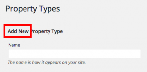 Add New Property Type label