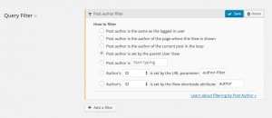 Filter posts by user set in the parent User View