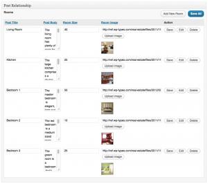 un tableau de champs avec 5 lignes de contenu - chaque entrée du contenu représente un type de publications pour une chambre unique