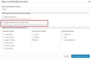 Enabling custom search for a new WordPress Archive