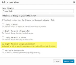 Creating a new Custom Search View