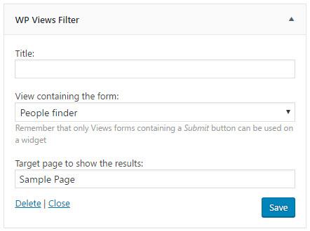 Views filter widget