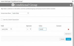 Toolset Forms - Conditional Display Dialog