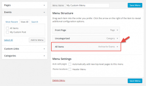 Insert Custom Post Type Archive Page into a WP menu