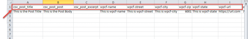 CSV file needs to have column headings (e.g. meta keys) on the first row