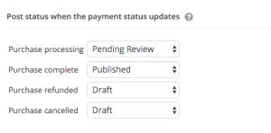 Post status when purchase updates