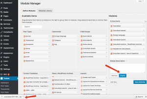Exporting modules using the Toolset Module Manager