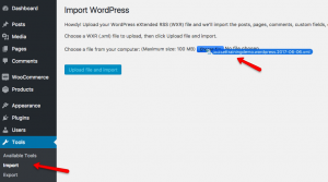 Importing post content by using the WordPress Importer