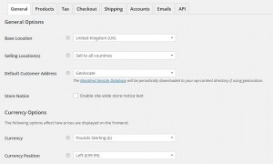 WooCommerce Settings Page