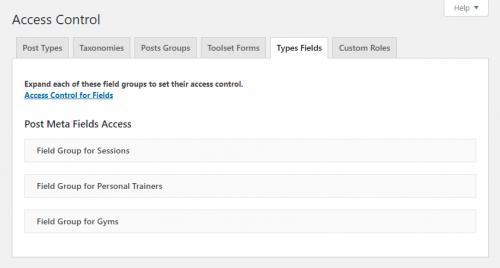 Types fields tab