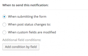 When to send the notification