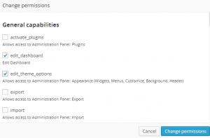 WordPress admin capabilities
