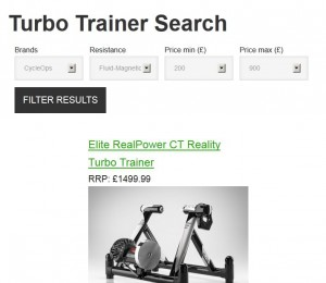Turbo Trainer search page made with Views
