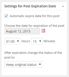 Post Expiration settings in the WordPress post editor
