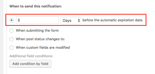 Forms settings for email notifications when posts expire