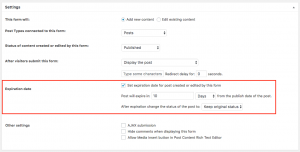 Forms post expiration options in a form