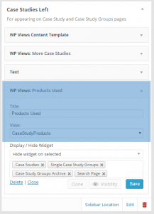 "A custom sidebar used on a single case study page. WP Views widget is used to display the CaseStudyProducts view. The Display/Hide Widget section is found in the ""Restrict Widgets"