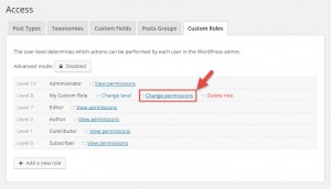 Changing role permissions on the Toolset Settings page, in the Custom Roles tab.