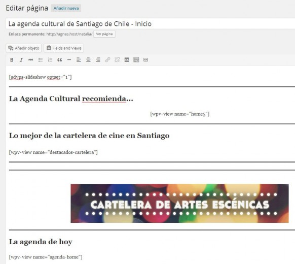 Homepage of La Agenda Cultural on the WordPress dashboard.