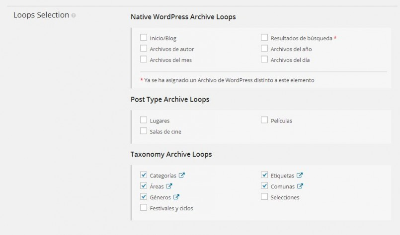 The same WordPress Archive View was applied to regular WordPress categories and different taxonomies.