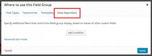 PostField Group Conditional Display section