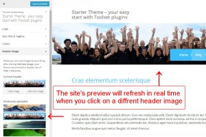 The site's preview will refresh in real time when you click on a different image.