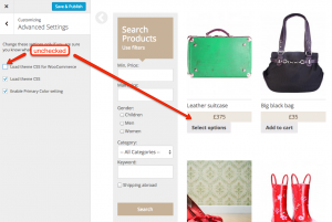 """""""Load theme CSS for WooCommerce"""" option unchecked"""
