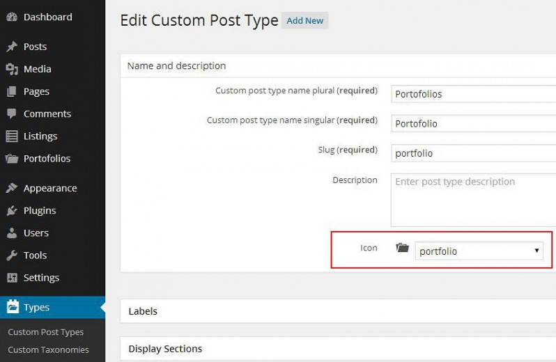 Example 4: Choosing an icon for a Custom Post Types with the Types plugin