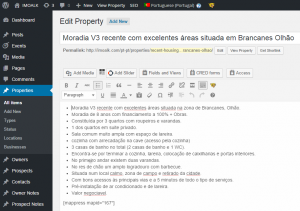 Single property in the WordPress backend - Portuguese version