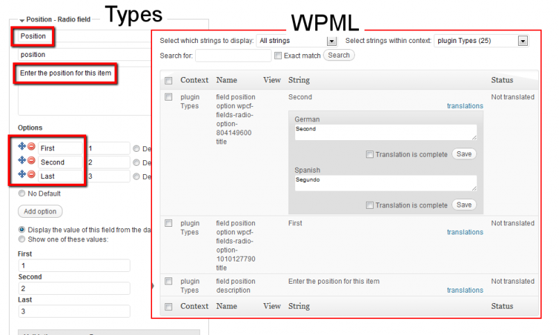 Translation options defined with the Types plugin (left side of the image) with WPML (right side of the image)