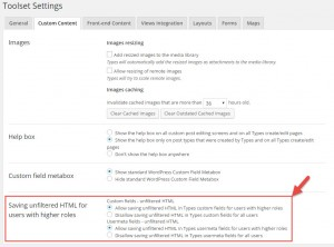 Settings to enable unfiltered HTML for users with higher roles (administrators and editors)