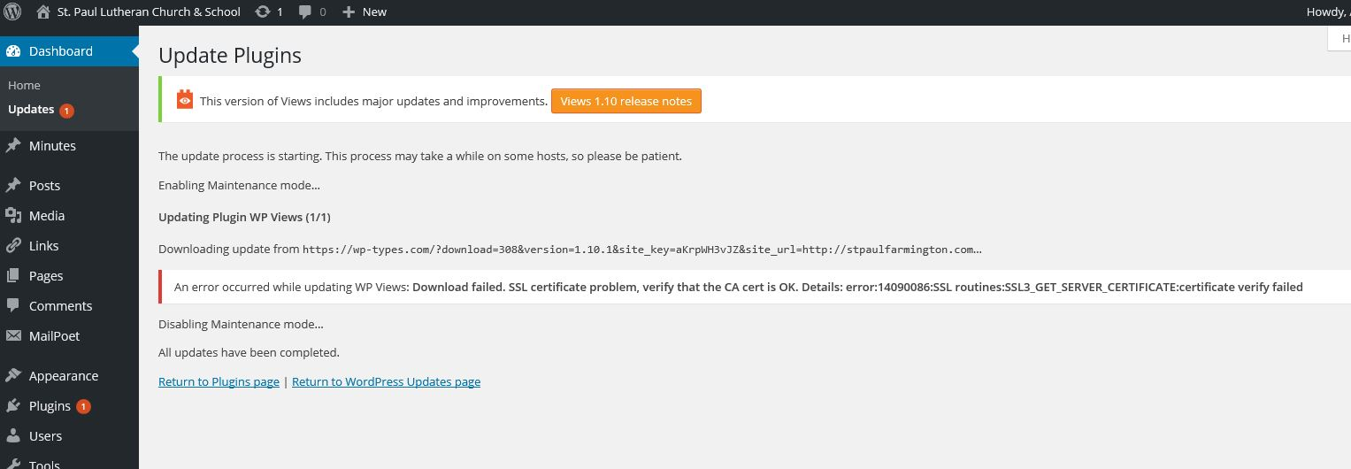 Cant Update Download Failed Ssl Certificate Problem Toolset