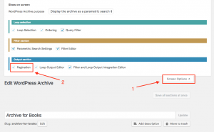 Enabling Pagination section for an existing WordPress Archive