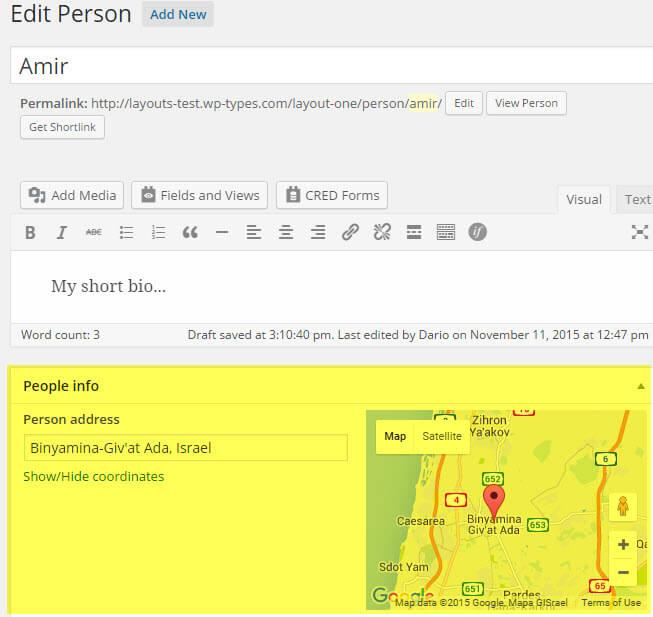 Address field in the WordPress admin