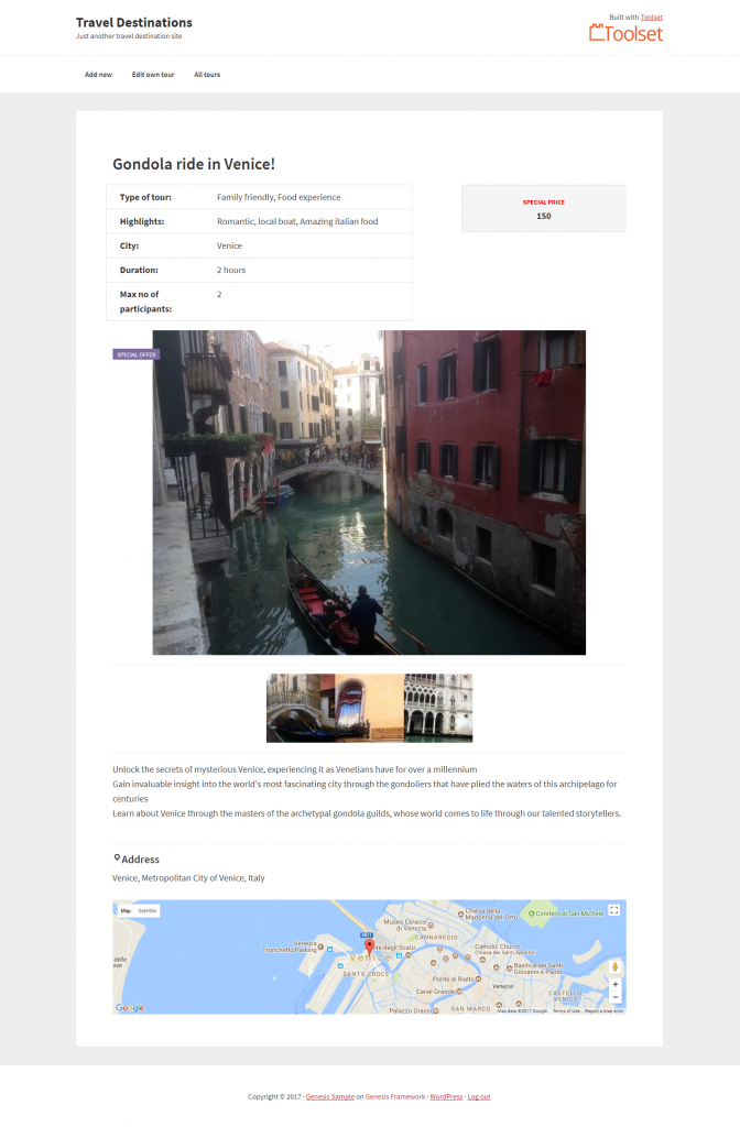 A custom traveling site built with Toolset and Genesis