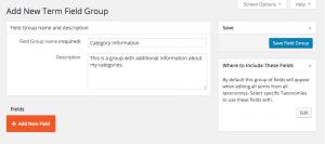 Add New Term Field Group screen