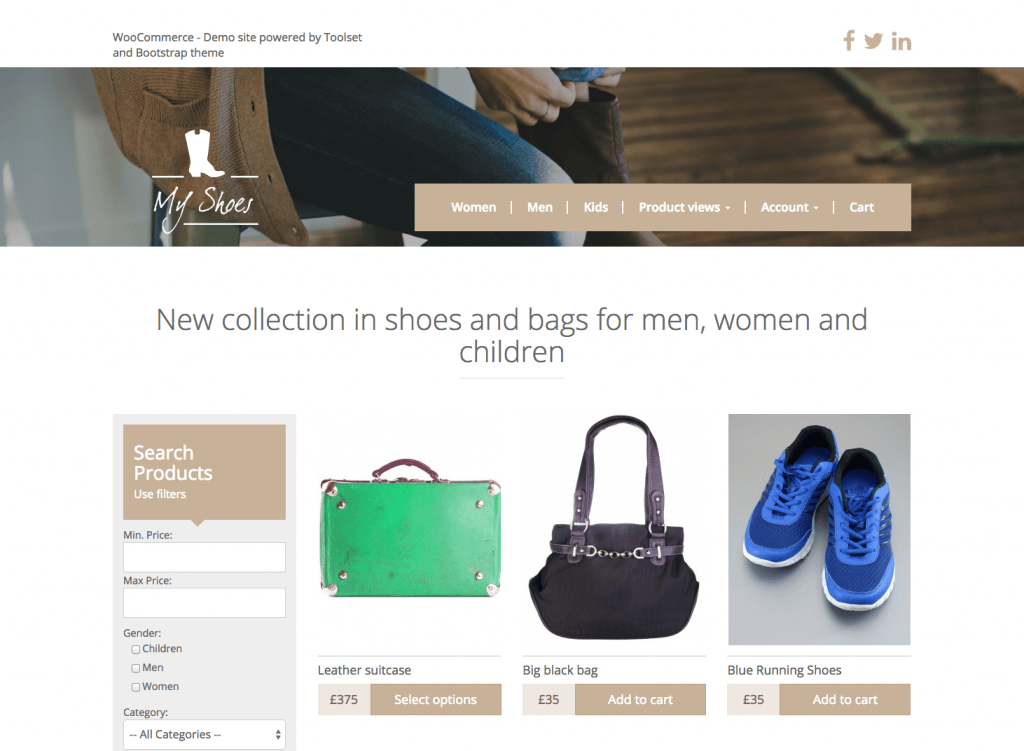 WooCommerce - Demo site powered by Toolset
