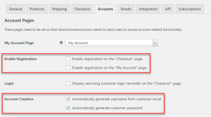 Setting the account-creation options in WooCommerce
