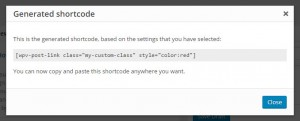 Dialog box with the generated shortcode