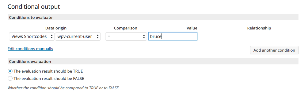 Views - Conditional Output - Current User Data