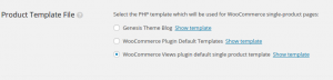 Selecting the right template file on the WooCommerce Views options page