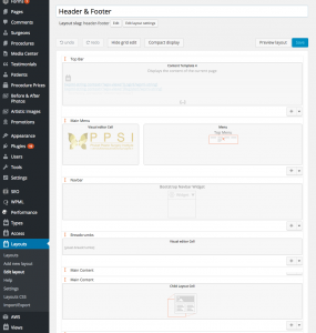 The upper part of the Header and Footer layouts