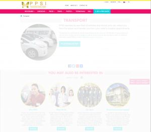 The PPSI site's header on the front-end