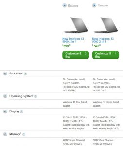 Side-by-side features comparison in Dell's search results