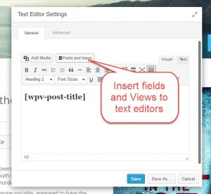 Fields and Views button in the BB Text Editor