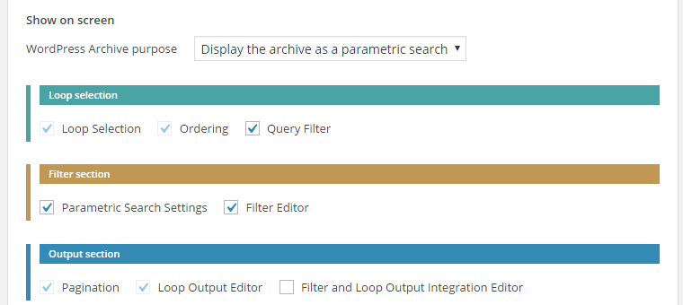 WordPress Archive Screen Options