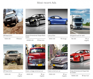 Page displaying 8 most recent ads in a grid