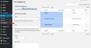 Ad categories - WordPress back-end